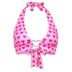 hjärttryck rygglösa halter-bh korsett topp sexig crop top sommar Pink One Size