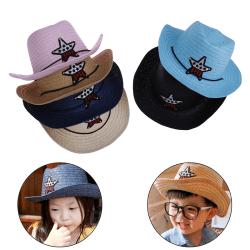 Barnpojkar flickor cowboy sommar andas hatt halm solhatt chil Pink