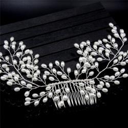 Lyxiga Vintage Bride Hair Accessories Handgjorda Pearl Wedding Je Silver