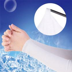 Män Kvinnor Kör Sommarkyl Fingerless Långa Handskar Arm Sun-Proo Black