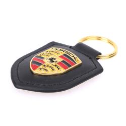 Porsche Shield nyckelring för Carling 911 Palamella Macan Leather Black