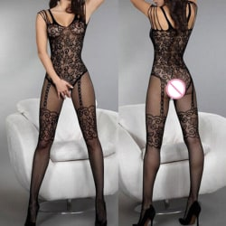 Sexiga kvinnor Black Fishnet Sheer Open Crotch Body Stocking Bodysu Black One Size