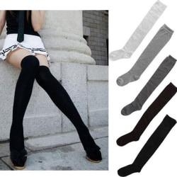 Lårhöga strumpor Sexiga kvinnor Flicka över knästrumpor Mode Bomull Black One Size