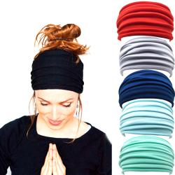 Kvinnor Yoga Sport Brett huvudband Elastiskt Boho hårband Huvudband Black one size