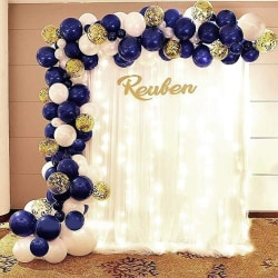 Ballongset med 105 ballonger Blå, Vit & Guld