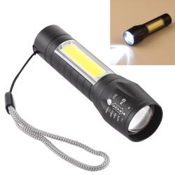 Vattentät USB-Laddad XPE + COB Ficklampa / 3 ljusinställningar