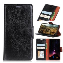 Nokia 5.1 Plus - Premium Split Läder Plånboksfodral - Svart Black Svart