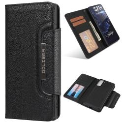 Samsung Galaxy S21 Plus - 2in1 Litchi Magnet Fodral - Svart Black Svart