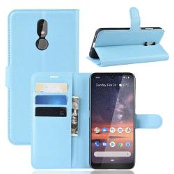 Nokia 3.2 - Litchi Plånboksfodral - Ljus Blå LightBlue Ljus Blå