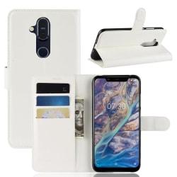 Nokia 8.1 - Litchi Plånboksfodral - Vit White Vit