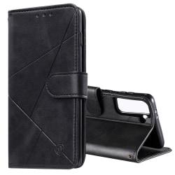 Samsung Galaxy S21 Plus - Geometriskt Plånboksfodral - Svart Black Svart