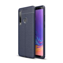 Samsung Galaxy A9 (2018) - Litchi läderskal - Mörk Blå DarkBlue Mörk Blå