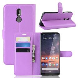 Nokia 3.2 - Litchi Plånboksfodral - Lila Purple Lila