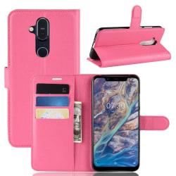 Nokia 8.1 - Litchi Plånboksfodral - Rosa Pink Rosa
