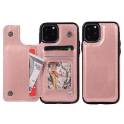 iPhone 11 Pro Max - Läderskal med kortfack - Roséguld Roséguld