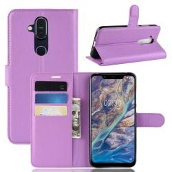 Nokia 8.1 - Litchi Plånboksfodral - Lila Purple Lila