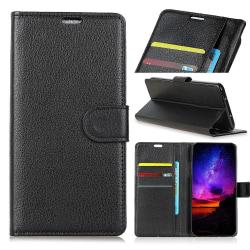 Sony Xperia L3 - Litchi Plånboksfodral - Svart Black Svart