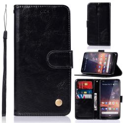 Nokia 3.2 - Plånboksfodral Vintage - Svart Black Svart