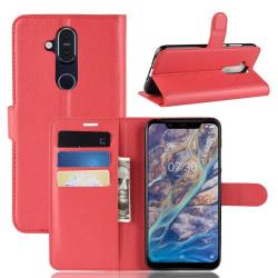 Nokia 8.1 - Litchi Plånboksfodral - Röd Red Röd