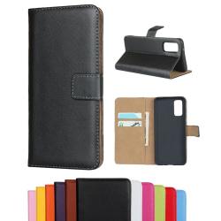 Samsung Galaxy S20 FE - Plånboksfodral I Äkta Läder - Välj Färg! Black Svart