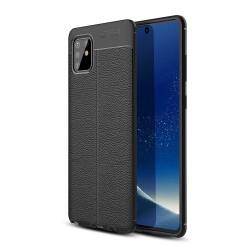 Samsung Galaxy Note 10 Lite - Litchi Skal - Svart Black Svart