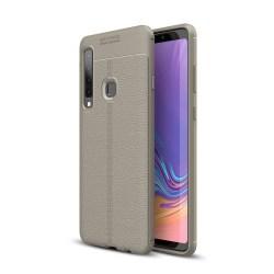 Samsung Galaxy A9 (2018) - Litchi läderskal - Grå Grey Grå