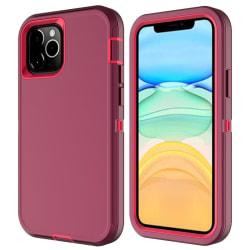 iPhone 12 / 12 Pro - Shockproof Xtreme Skal - Vinröd/Rosa Vinröd/Rosa