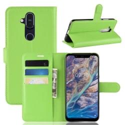 Nokia 8.1 - Litchi Plånboksfodral - Grön Green Grön