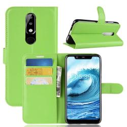 Nokia 5.1 Plus - Litchi Plånboksfodral - Grön Green Grön