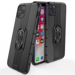 iPhone 11 Pro Max - Ring Skal - Funkar med magnethållare - Svart Black Svart
