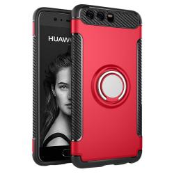 Huawei P10 - Armour Ring Skal - Röd Red Röd
