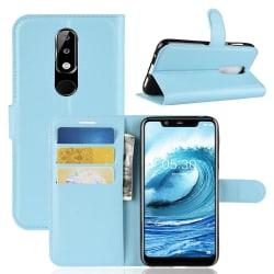 Nokia 5.1 Plus - Litchi Plånboksfodral - Ljus Blå LightBlue Ljus Blå