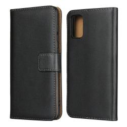 Samsung Galaxy A41 - Äkta Läder Plånboksfodral - Svart Black Svart