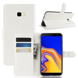 Samsung Galaxy J4 Plus - Litchi Plånboksfodral - Vit White Vit