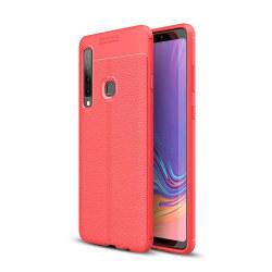 Samsung Galaxy A9 (2018) - Litchi läderskal - Röd Red Röd