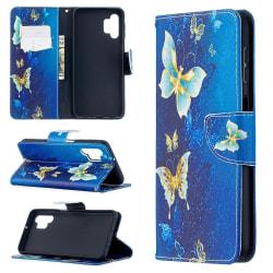 Samsung Galaxy A32 5G - Fodral Med Tryck - Blå/Guld Fjärilar