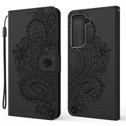 Samsung Galaxy S21 Plus - Flower Mandala Fodral - Svart Black Svart