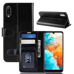 Huawei Y6 (2019) - Crazy Horse Plånboksfodral - Svart Black Svart
