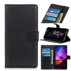 Samsung Galaxy Note 10 Lite - Litchi Plånboksfodral - Svart Black Svart
