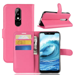Nokia 5.1 Plus - Litchi Plånboksfodral - Rosa Pink Rosa