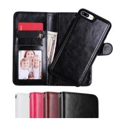 iPhone 7/8 Plus - Plånboksfodral / Magnet Skal 2 in 1 - Välj Fär Black Svart