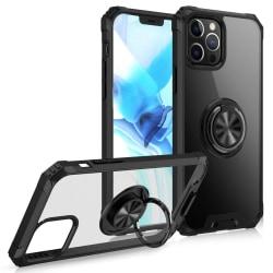 iPhone 12 / 12 Pro - Hybrid Ring Skal - Svart Black Svart