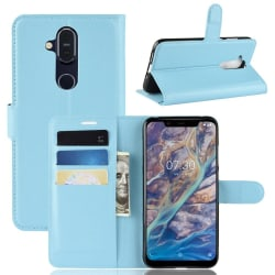 Nokia 8.1 - Litchi Plånboksfodral - Ljus Blå LightBlue Ljus Blå