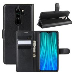 Xiaomi Redmi Note 8 Pro - Litchi Plånboksfodral - Svart Black Svart