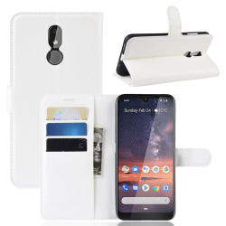 Nokia 3.2 - Litchi Plånboksfodral - Vit White Vit