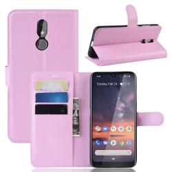 Nokia 3.2 - Litchi Plånboksfodral - Ljus Rosa LightPink Ljus Rosa