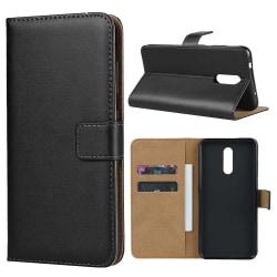Nokia 3.2 (2019) - Plånboksfodral i äkta läder - Svart Black Svart