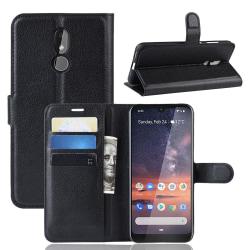 Nokia 3.2 - Litchi Plånboksfodral - Svart Black Svart