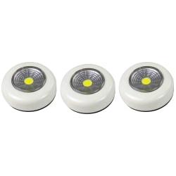 3-pack Batteridriven belysning LED pushlight, vit spotlight Vit