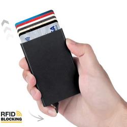 Svart korthållare med RFID skjuter Fram 5 kort - RFID säker